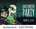 halloween party poster design.... | Shutterstock .eps vector #1201704586