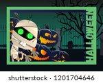 halloween flyer design. zombie... | Shutterstock .eps vector #1201704646