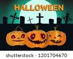 halloween banner design. moon ... | Shutterstock .eps vector #1201704670