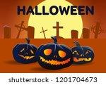 halloween banner design.... | Shutterstock .eps vector #1201704673