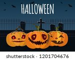 halloween banner design.... | Shutterstock .eps vector #1201704676