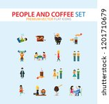 people and coffee icon set.... | Shutterstock .eps vector #1201710679