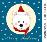 white bear santa claus with red ... | Shutterstock .eps vector #1201718146
