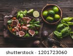 herby salad  fresh figs  baked... | Shutterstock . vector #1201723060