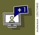 sticker symbol of finger up ... | Shutterstock .eps vector #1201724833