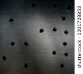 bullet holes in a scratched... | Shutterstock . vector #1201728853