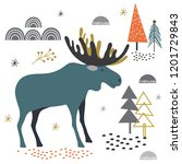cute moose in fores design ... | Shutterstock .eps vector #1201729843