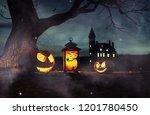 scene of halloween decoration... | Shutterstock . vector #1201780450