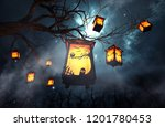 halloween caged candles hanging ... | Shutterstock . vector #1201780453