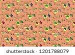cute bird seamless pattern on... | Shutterstock .eps vector #1201788079