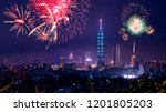 firework with cityscape night... | Shutterstock . vector #1201805203