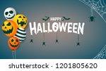 happy halloween hanging spider...   Shutterstock .eps vector #1201805620