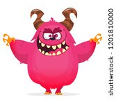 angry cartoon monster. vector...   Shutterstock .eps vector #1201810000