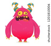 cool cartoon monster character... | Shutterstock .eps vector #1201810006