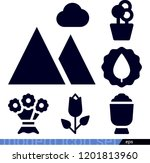 set of 6 nature filled icons... | Shutterstock .eps vector #1201813960