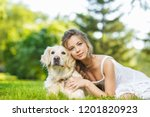 young woman with golden... | Shutterstock . vector #1201820923