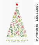 merry christmas and happy new... | Shutterstock . vector #1201822090