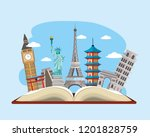book with international travel... | Shutterstock .eps vector #1201828759
