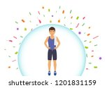 sports man reflects bacteria.... | Shutterstock .eps vector #1201831159