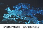 dark earth map with glowing... | Shutterstock . vector #1201834819