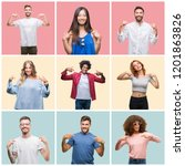 collage of group of young... | Shutterstock . vector #1201863826