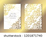 elegant golden cards with... | Shutterstock .eps vector #1201871740
