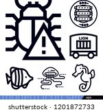 set of 6 animals outline icons... | Shutterstock .eps vector #1201872733
