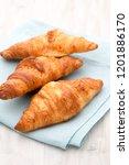 tasty buttery croissants on old ... | Shutterstock . vector #1201886170