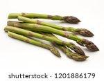 bio fresh green asparagus... | Shutterstock . vector #1201886179