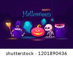 colorful halloween banner.... | Shutterstock .eps vector #1201890436