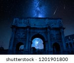 milky way with falling stars... | Shutterstock . vector #1201901800