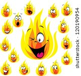 fire cartoon with many...