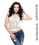 Full Portrait Of Fashion Model...