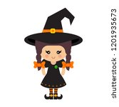 cartoon cute witch vector with... | Shutterstock .eps vector #1201935673