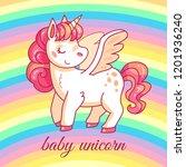 cute baby unicorn. cartoon... | Shutterstock .eps vector #1201936240