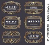 art deco frame. antique golden... | Shutterstock .eps vector #1201936273