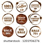 coffee labels. watercolor dirty ... | Shutterstock .eps vector #1201936276