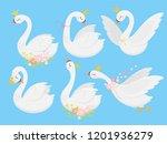 cute princess swan. beautiful... | Shutterstock .eps vector #1201936279