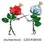 white and red rose prince are...   Shutterstock .eps vector #1201938430