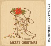 western christmas greeting card ... | Shutterstock .eps vector #1201947823