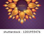 happy diwali festival with oil... | Shutterstock .eps vector #1201955476