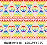 vintage hippie seamless... | Shutterstock . vector #1201956730