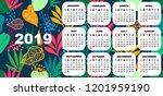 2019 colorful calendar. simple... | Shutterstock .eps vector #1201959190
