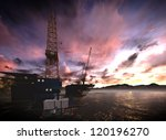 oil rig  platform with awesome... | Shutterstock . vector #120196270
