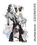 illustration of spanish dancers | Shutterstock .eps vector #1201965193
