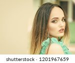 woman with makeup on face skin. ...   Shutterstock . vector #1201967659