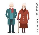 elderly couple and wear winter... | Shutterstock .eps vector #1201978300