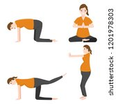 pregnancy stretches icon yoga... | Shutterstock .eps vector #1201978303