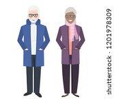 elderly couple and wear winter... | Shutterstock .eps vector #1201978309