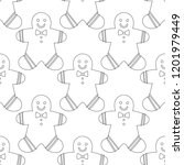 gingerbread. black and white... | Shutterstock .eps vector #1201979449